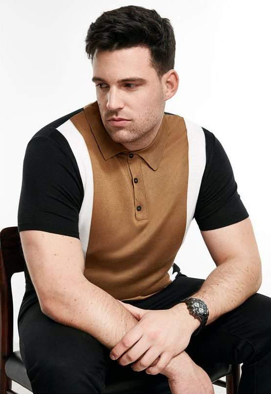 River Island Launches Big & Tall Mens- RI Big & Tall Brown Knit Color Block Polo Shirt