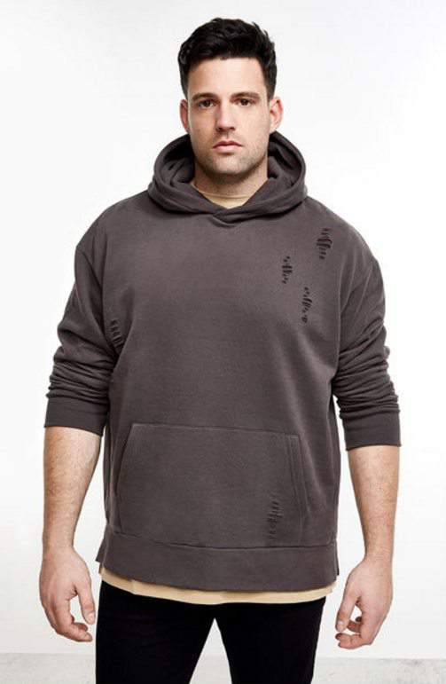 River Island Launches Big & Tall Mens- Big & Tall grey distressed hoodie