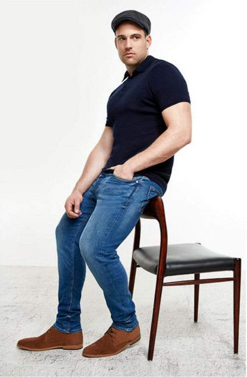 River Island Launches Big & Tall Mens- RI Big & Tall Mid Blue Wash Sid Skinny Jeans