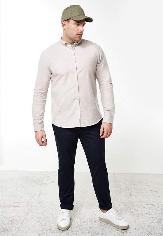 River Island Launches Big & Tall Mens- Big & Tall cream casual Oxford shirt
