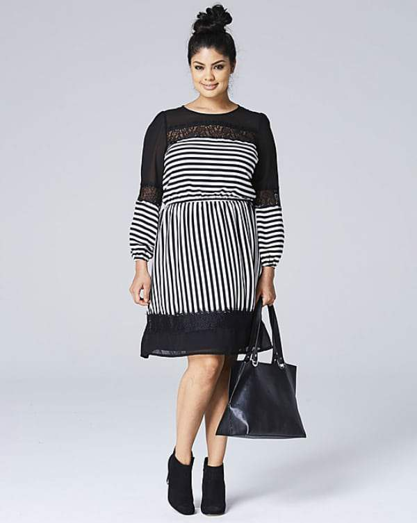 Spring Trends We Love From SimplyBe- Plus Size STRIPE LACE MIX DRESS
