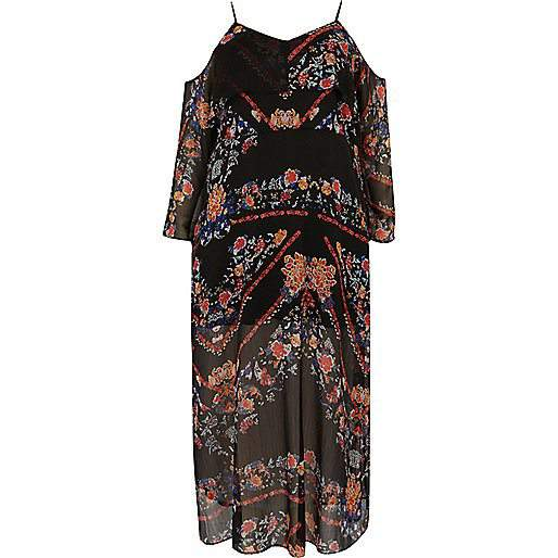 7 Stylish Plus Size Spring Must-Haves From River Island- Black Print Cold Shoulder Maxi Dress