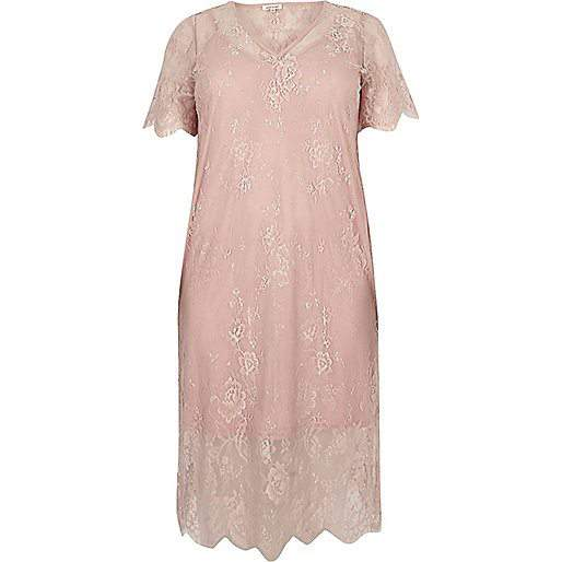 7 Stylish Plus Size Spring Must-Haves From River Island- Light Pink Lace Dress