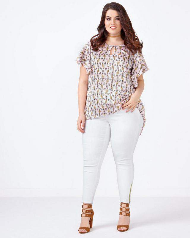 MELISSA McCARTHY White Pencil Jean with Zippers at Penningtons