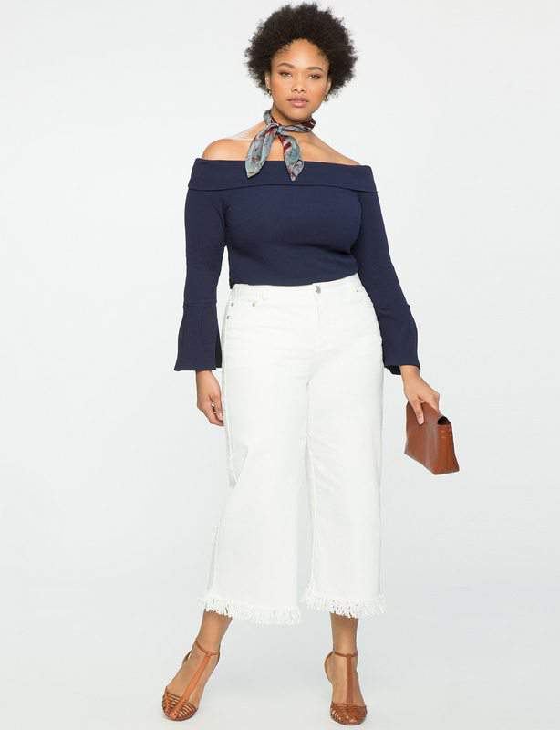 Wide Leg Fringe Denim Culottes