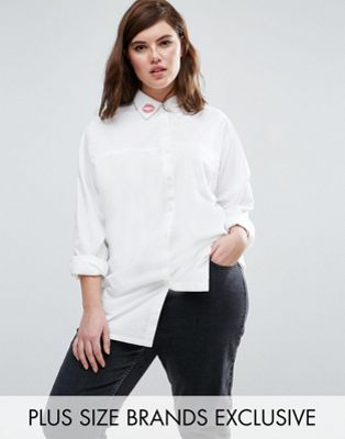 Daisy Street Plus Woven Shirt With Kiss Detail