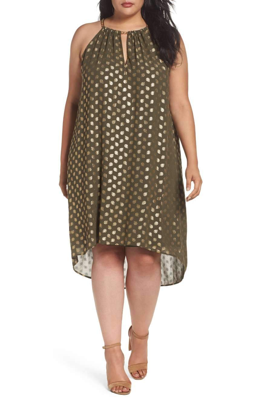 What to Wear to an Evening Wedding- Bergalia Foiled Chain Neck Trapeze Dress