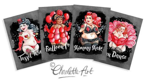 Plus Size Art: Burlesque Beauties by Illustrator Charlotte Thomson-Morley