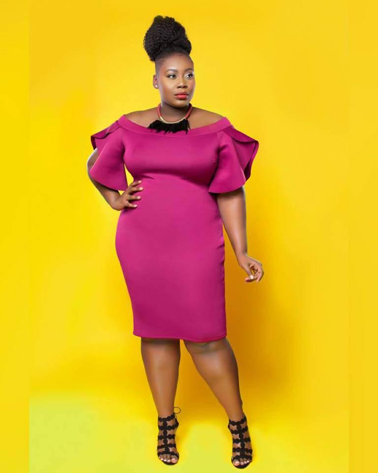 purple plus size dress, midi dress, ruffled plus size dress, plus size model. Tasha, Love Creed, Shows your curves, plus size fashion