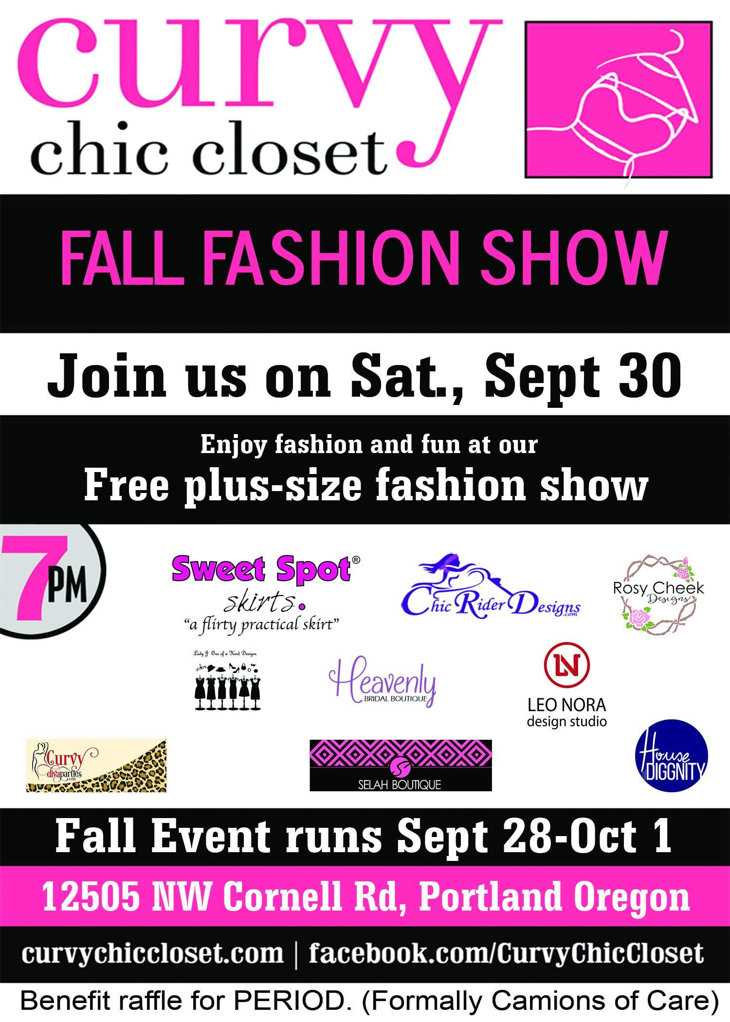 plus size events, plus size event calendar, curvy events, oregon events, Curvy Chic Closet Event