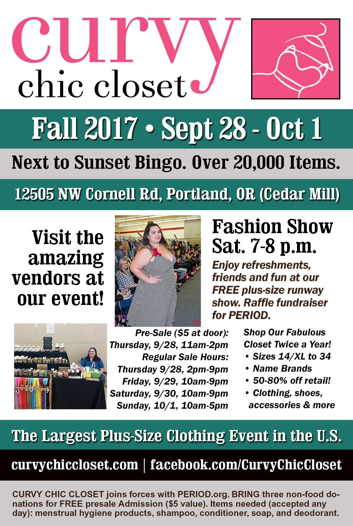 plus size events, Curvy Chic Closet Event, plus size event calendar, Oregon Events, curvy events
