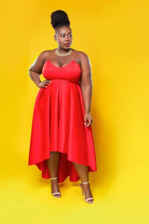 red plus size dress, fit and flare dress, plus size model, Love Creed