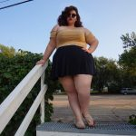 plus size tumblr, plus size skater skirt, plus size off the shoulder blouse, yellow crop top, trendy tumblr, plus size fashion, plus size trends, black skirt