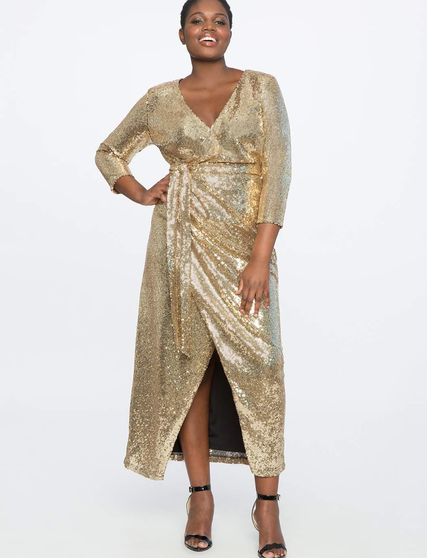 Eloquii Sequin Wrap Gown