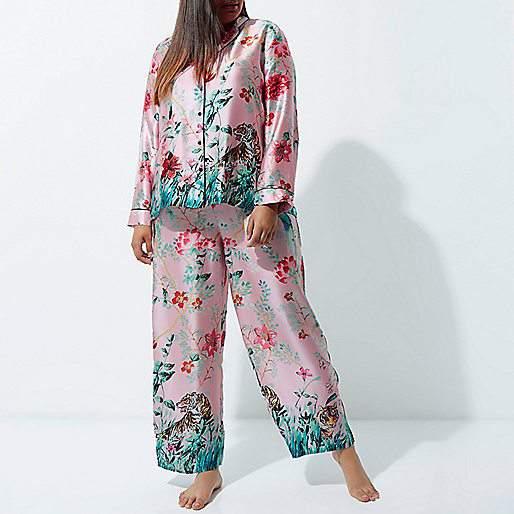 River Island Pink Jungle Print Pajama Suit