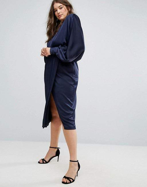 Asos Silk Long Sleeve Dress