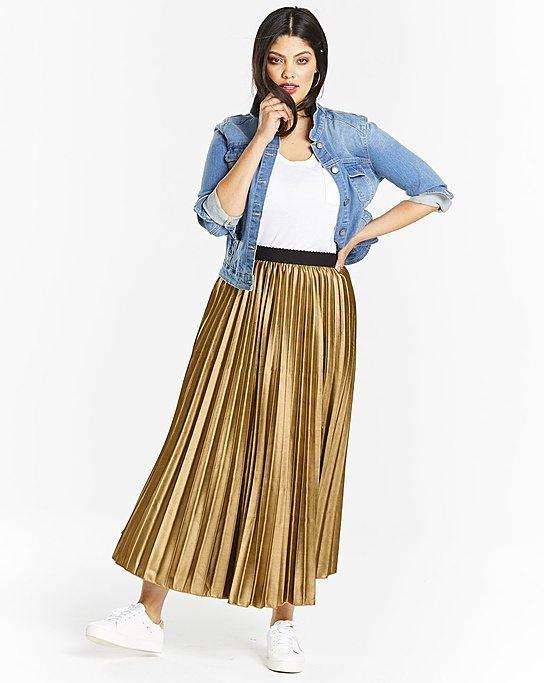 Simply Be Metallic Pleat Skirt