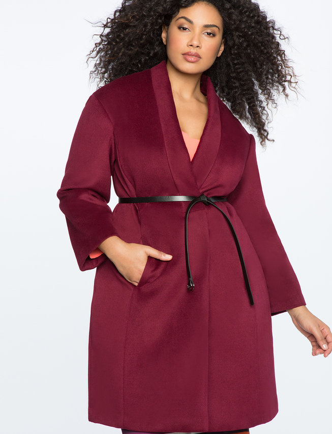 Belted Long Plus Size Coat