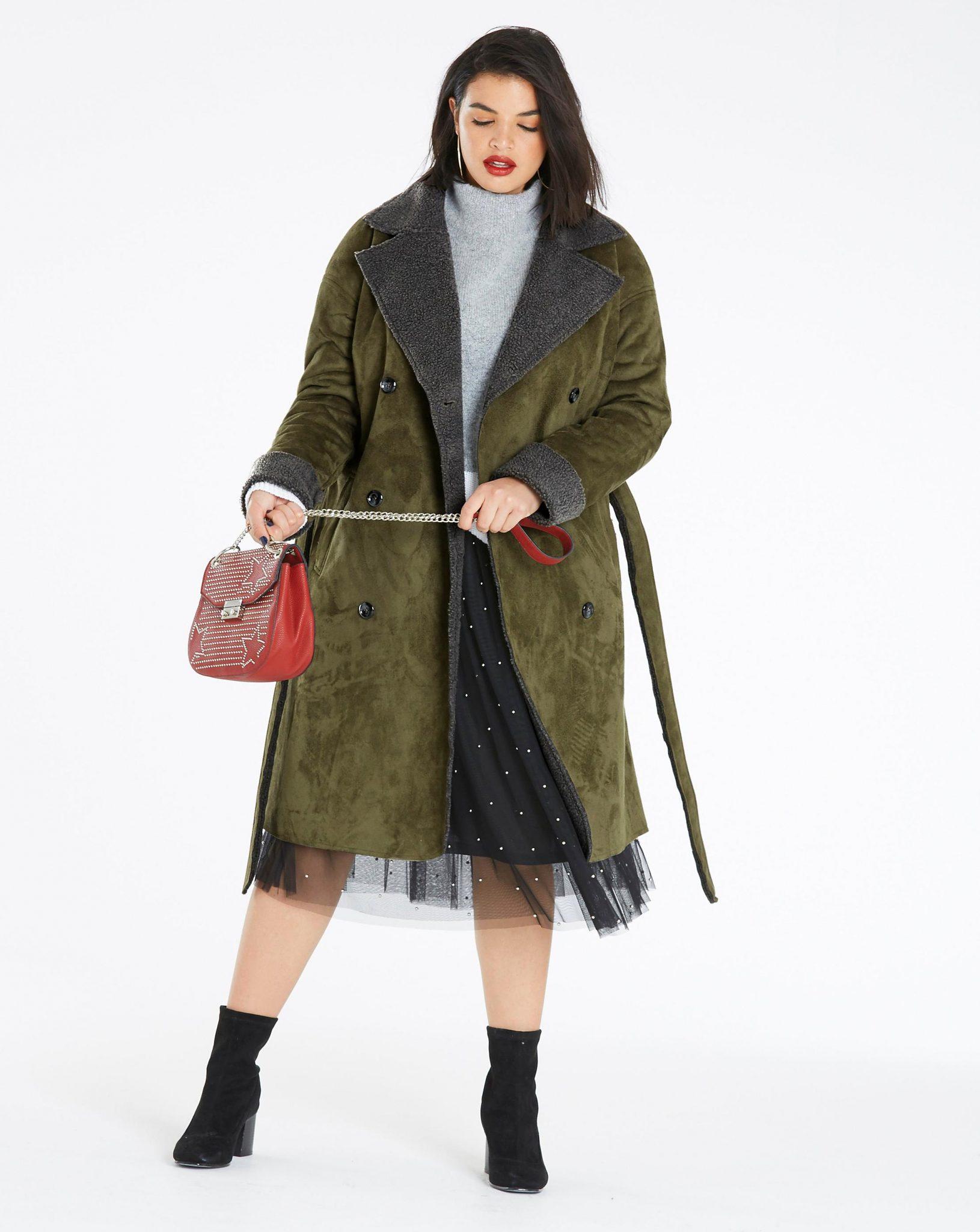 Double Breasted Plus Size Borg Coat at Simply Be