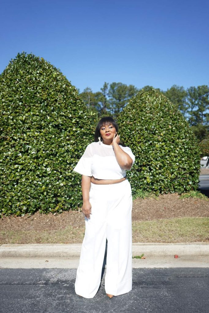 The Curvy Fashionista wears Premme Wide Leg Crop Top Pants set