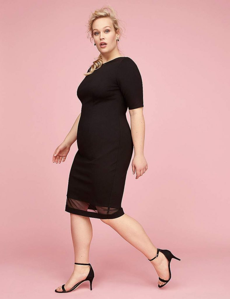 Elbow-Sleeve Sheath Dress With Mesh