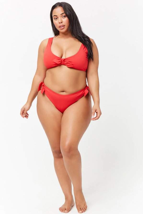 9e96354e1a058 Plus Size Ribbed Tie-Front Bikini Top on Tabria Majors at Forever21.com
