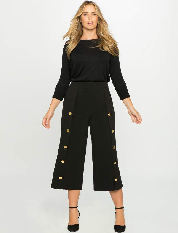 Plus size Wide Leg Button Culottes