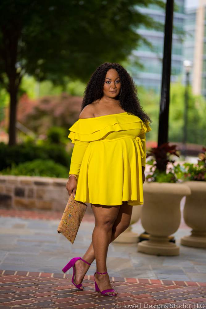 Marie Denee in Yellow Plus Size Dress by Rue 107