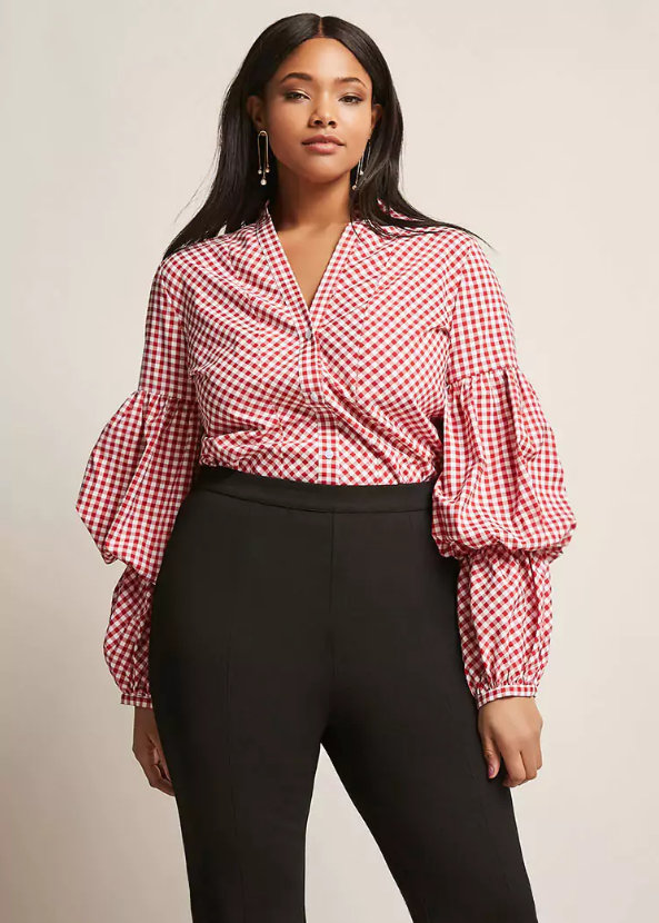 Plus Size Gingham Puff Sleeve Bodysuit