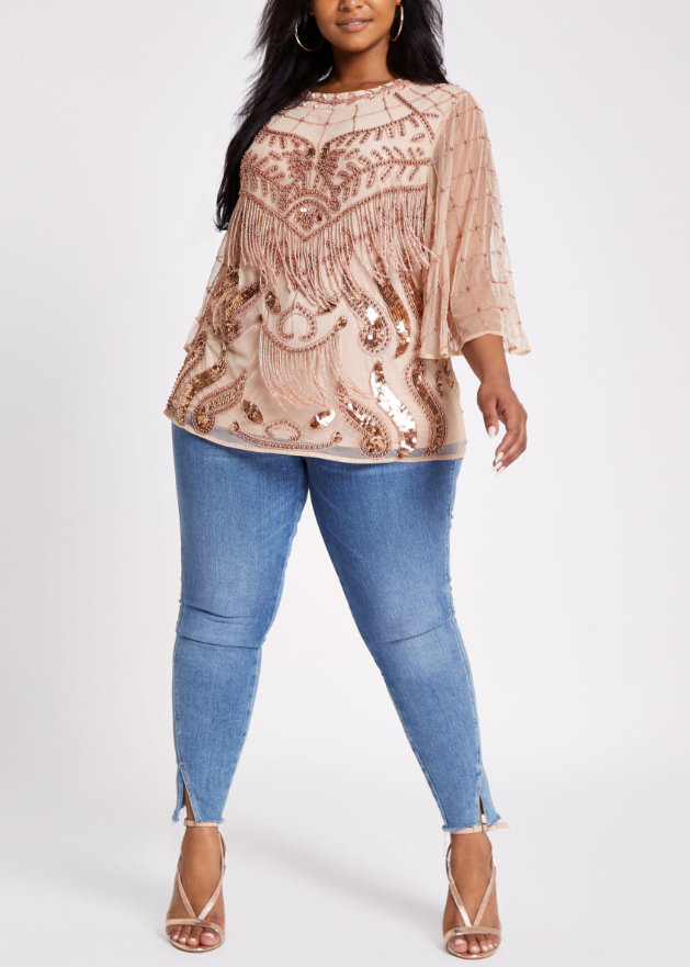 River Island Plus Size Pink Embellished Blouse