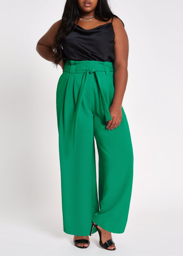 River Island Plus Size Green Paperbag Waist Wide Leg Pants