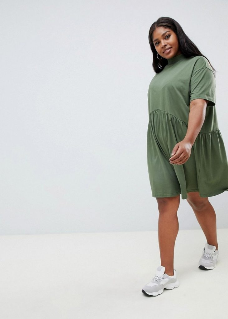 10 Affordable Plus Size Fashion Finds Under $50 - ASOS Design Curve mini smock dress with High neck