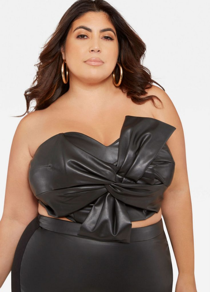 71e34a33c4708 10 Affordable Plus Size Fashion Finds Under $50 - Faux Leather Knot Front  Tube Top