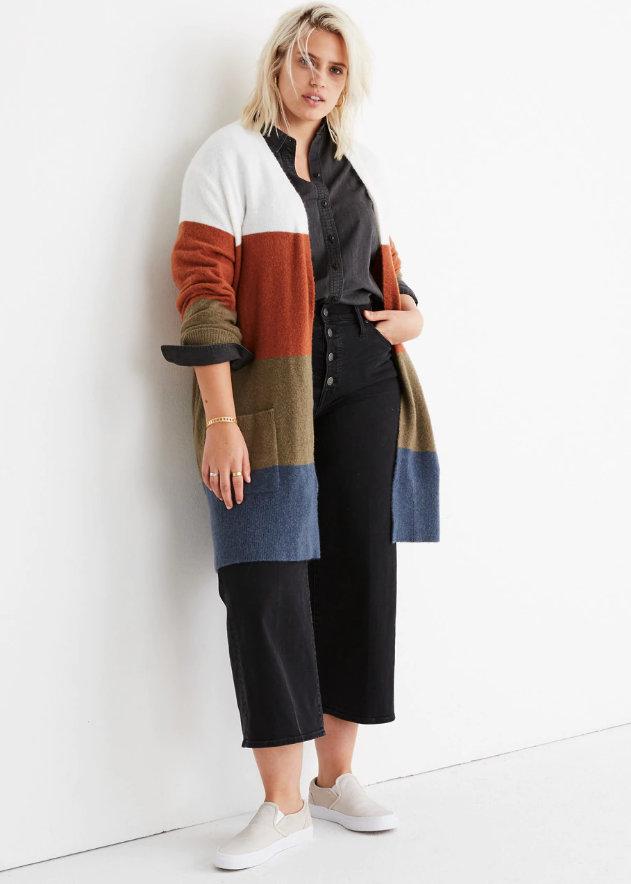 Kent Striped Cardigan Sweater in Coziest Yarn