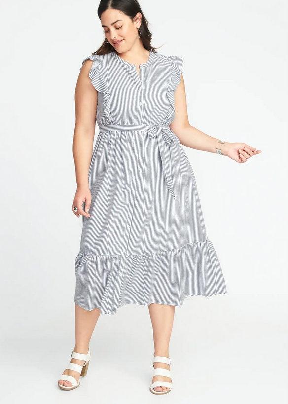 10 Affordable Plus Size Fashion Finds Under $50 - Tie-Belt Plus-Size No-Peek Midi Shirt Dress