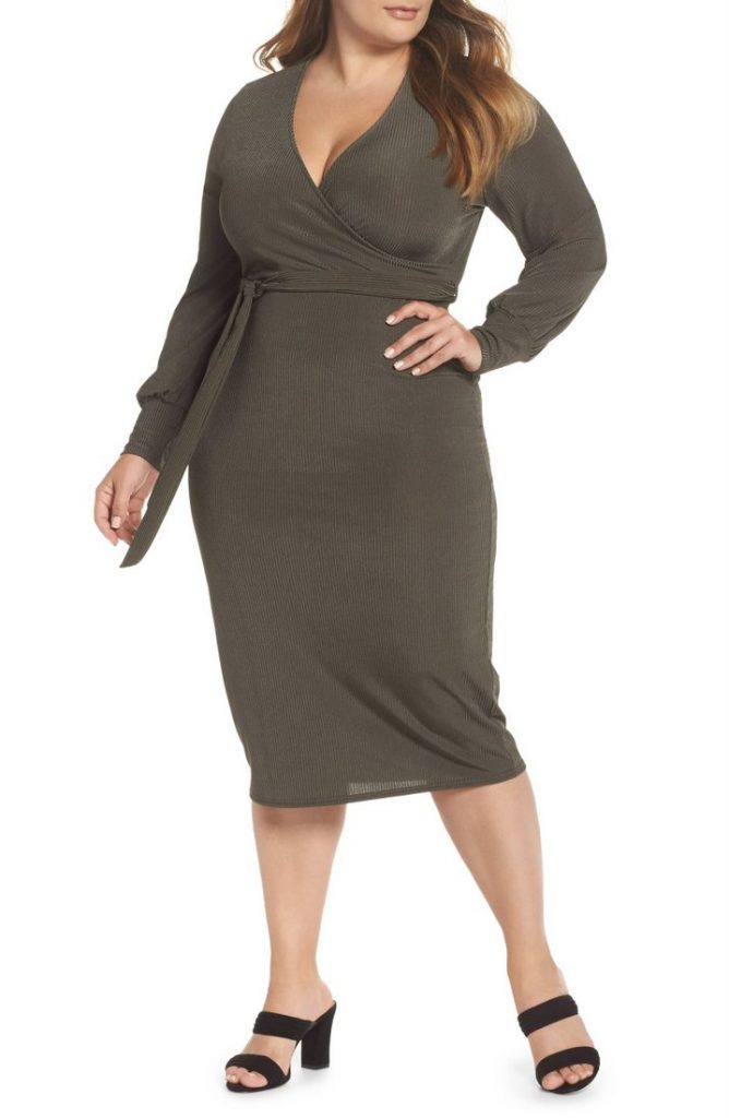 10 Affordable Plus Size Fashion Finds Under $50 - LOST INK Ribbed Faux Wrap Dress