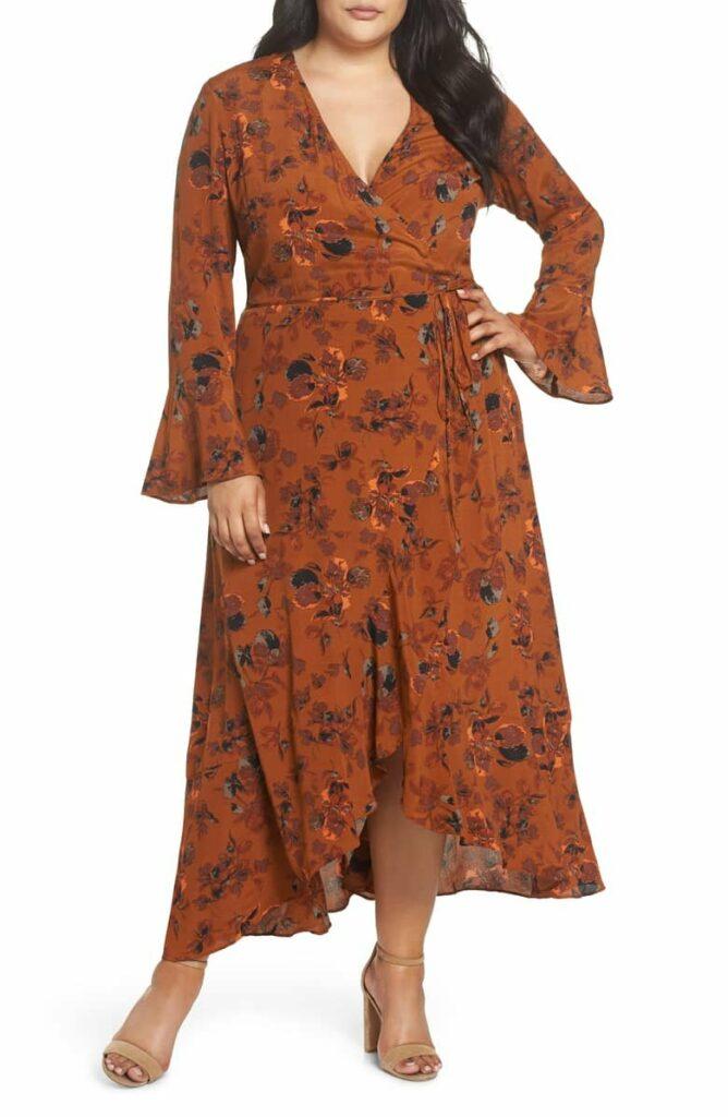 Leith Plus Size Floral Wrap Dress