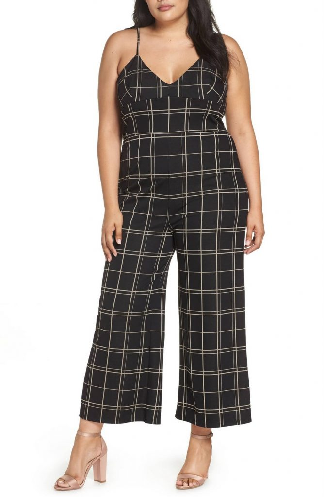 Leith Plus Size Windowpane Check Jumpsuit