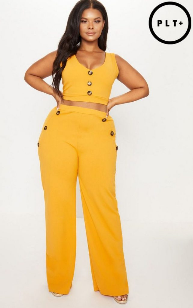 091d2db0522b7 10 Affordable Plus Size Fashion Finds Under $50 - Mustard Button Detail  Wide Leg Trousers