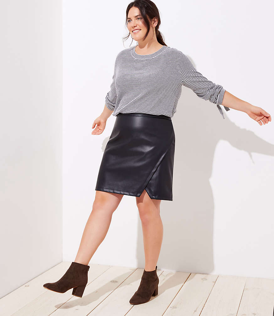 Plus Faux Leather Wrap Skirt