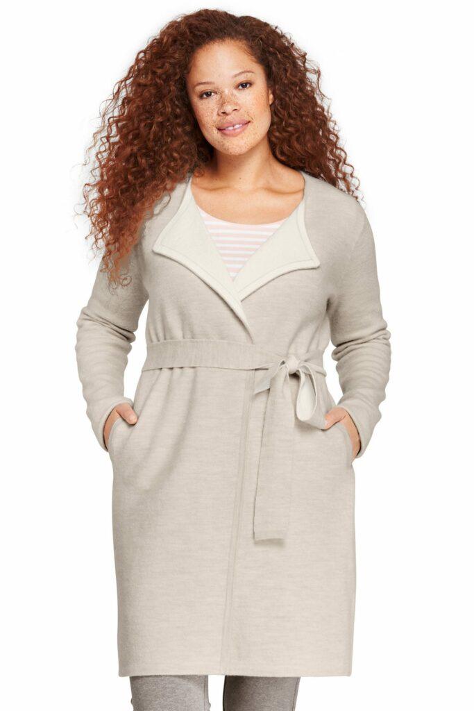 Plus Size Boiled Merino-Cotton Tie Cardigan Sweater