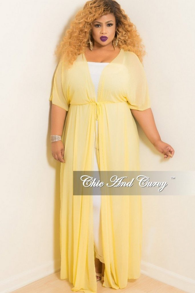 10 Affordable Plus Size Fashion Finds Under $50 - Plus Size Long Sheer Cover Up with Tie in Yellow
