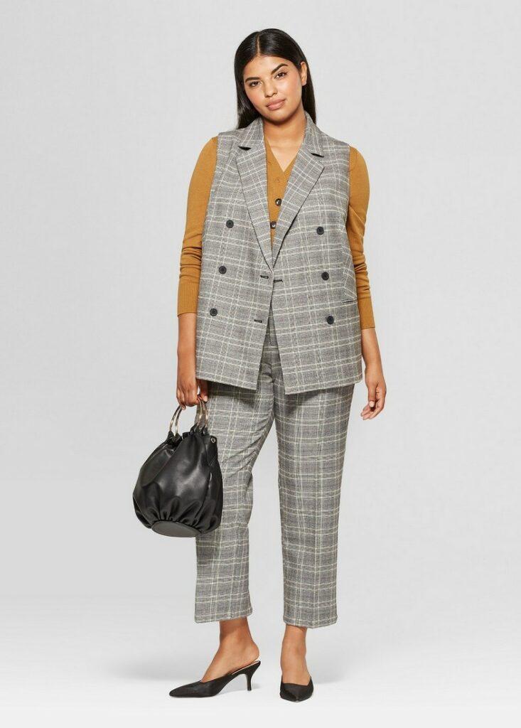 10 Affordable Plus Size Fashion Finds Under $50 - Plus Size Plaid Sleeveless Suit Vest