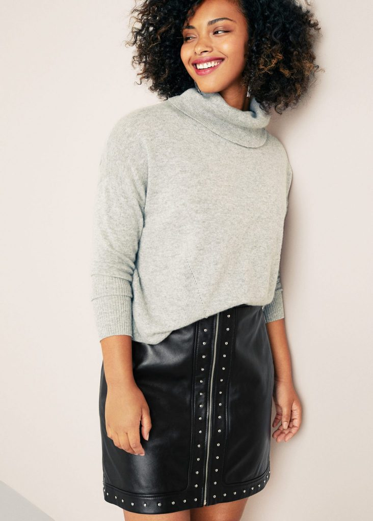 Studded Plus Size leather skirt