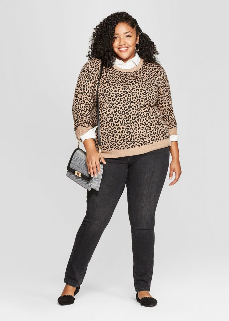 Cute Plus Size Sweaters for Fall- A New Day Plus Size Leopard Print Pullover Sweater