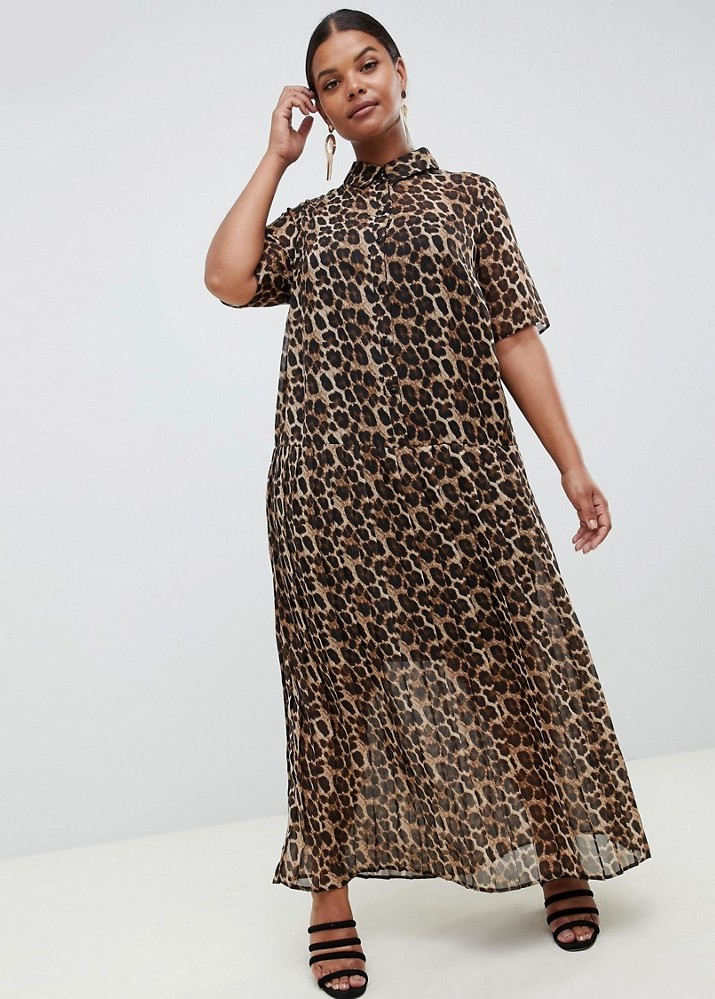 Love a Plus Size Leopard Print, then Check These Out- ASOS DESIGN Curve pleated maxi shirt dress in leopard print