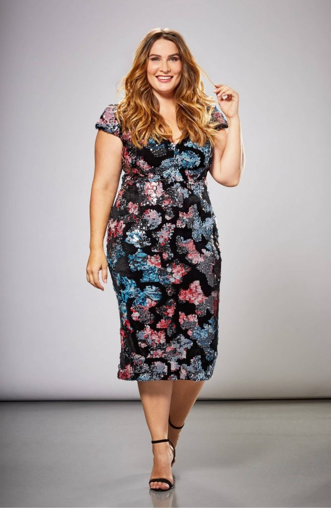 Dress the Population in Plus Sizes- Allison Sequin & Velvet Midi Dress