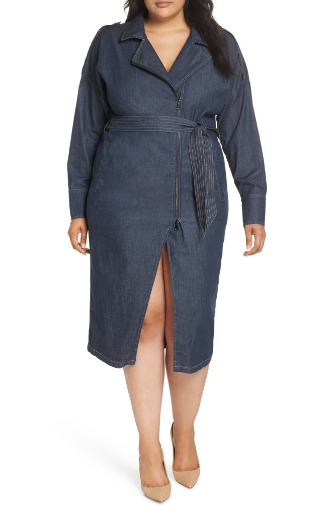 Ashley Graham x Marina Rinaldi Decuria Denim Shirtdress