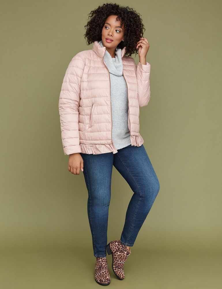 9171184e571 Fall s Bold Hued and Non Black Plus Size Coats to rock- Blush Peplum  Packable Puffer