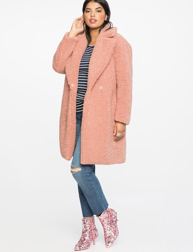 a5f608b9432 Fall s Bold Hued and Non Black Plus Size Coats to rock- Boucle Teddy Coat